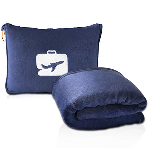 EverSnug Travel Blanket and Pillow - Premium Soft 2 in 1 Airplane Blanket with Soft Bag Pillowcase, Hand Luggage Sleeve and Backpack Clip (Navy Blue)