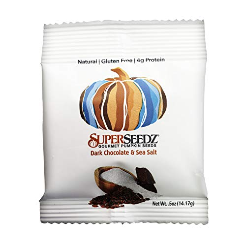DARK CHOCOLATE & SEA SALT PUMPKIN SEEDS | PREMIUM SELECT LINE BY SUPERSEEDZ | WHOLE 30 | VEGAN | KETO | 7G PLANT BASED PROTEIN | PRODUCED IN USA | NUT FREE | GLUTEN FREE SNACK| (24-PACK, 0.5 OZ EACH)