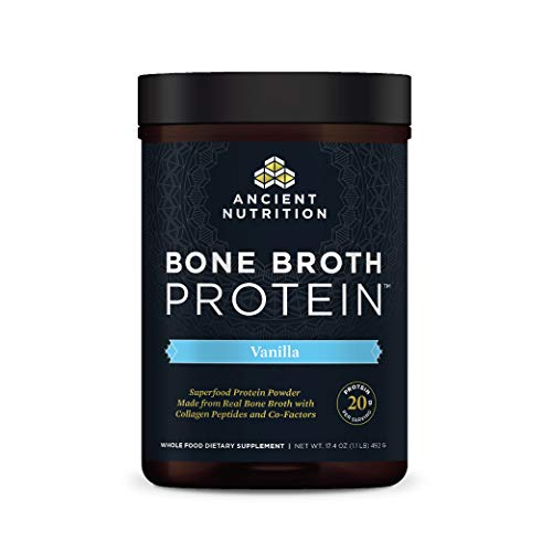 Protein Powder Made from Real Bone Broth by Ancient Nutrition, Vanilla, 20g Protein Per Serving, 20 Serving Tub, Gluten Free Hydrolyzed Collagen Peptides Supplement, Great in Protein Shakes