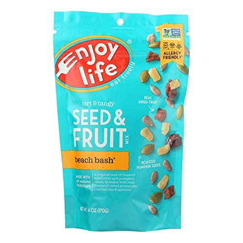 Enjoy Life Seed and Fruit Mix - Not Nuts - Beach Bash - 6 oz - case of 6 - Gluten Free - Dairy Free - Vegan