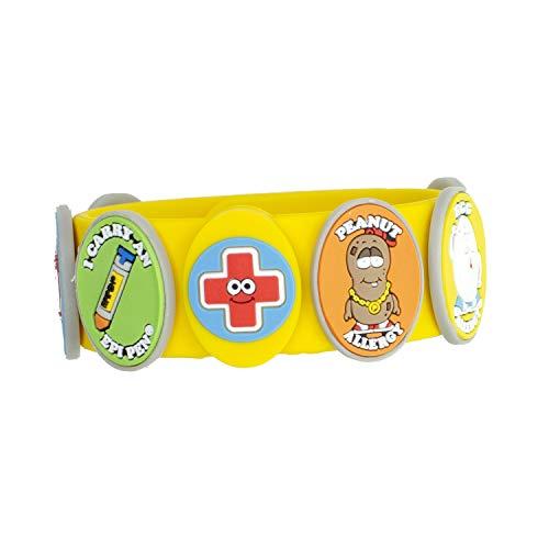 Food Allergy Bracelets for Kids – Bright, Fun Medical Charm Kit: Yellow Silicone Bracelet, Multiple Food Allergy Charms: Peanut, Nut, Dairy, Egg, Wheat & Epi Pen Charm, Medical Alert Bracelet for...