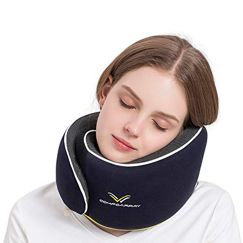 ComfoArray Travel Pillow, Neck Pillow for Airplane and Car. Upgrade in 2020,Wider Adjustable Range. Enhanced Front Support Effect.A Whole Set of Travel Kit-Blue.