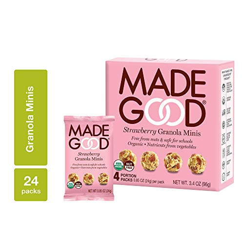 MadeGood Strawberry Granola Minis, 6 Boxes (24 count); Granola Clusters Made with Crunchy Oats and Juicy Strawberries; Convenient, Individually-Wrapped Portions; Allergy-Friendly, School-Safe Snack