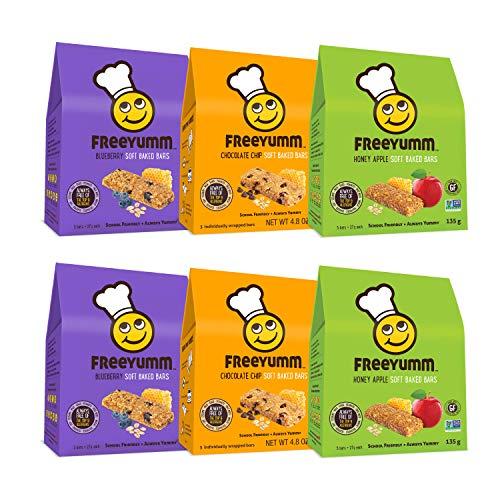 FreeYumm Soft Baked Bars Variety Pack - Chocolate Chip, Honey Apple, & Blueberry - 30 Individually Wrapped 4.8 oz. Bars - Allergen Free - Gluten Free - School Friendly