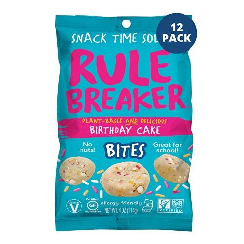 Rule Breaker Snacks Vegan Cookie Bites | Gluten Free, Nut Free and Great for School, Allergen Free, Kosher, Plant Based, Chickpea Based Blondie Brownies (Birthday Cake, 4 Ounce (Pack of 12))