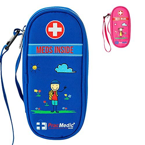PracMedic Bags Epipen Carrying Case for Kids- Insulated, Holds 2 Epi Pens, Auvi-Q, Asthma Inhaler, Anti-histamine, Nasal Spray, Eye Drops, Ice Pack, Portable Medicine Supplies, Updated Design (Blue)