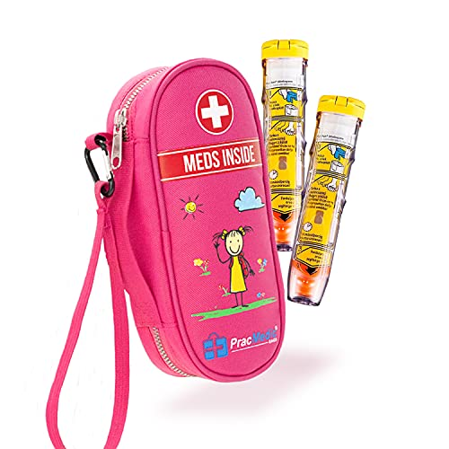 PracMedic Bags Epipen Carry Case Kids- Insulated, Holds 2 Epi Pens or Auvi Q, Antihistamine. Inhaler, Nasal Spray, Eye Drops, Allergy Medicine- Medical Carrying Case for Emergencies- Updated (Pink)