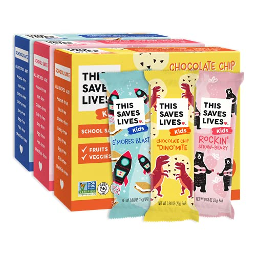 This Bar Saves Lives Kids Chewy Granola Bars, Variety 15 Pack, Gluten Free Snack Bars, Healthy Snacks Variety Pack for Kids, Nut Free, Non GMO, Kosher, 0.88oz Bars, 5 of Each Flavor