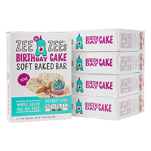 Zee Zees Birthday Cake Soft Baked Snack Bars, Nut-Free, Whole Grain, Naturally Flavored, 1.3 oz, 30 pack