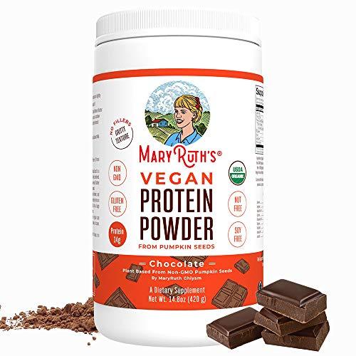 Organic Protein Powder Plant-Based (Creamy Chocolate Fudge) by MaryRuth's Vegan, Gluten Free, Non-GMO, Soy Free, Dairy Free, Nut Free, No Fillers, No Additives, Paleo Friendly 14.8 oz for Men & Women