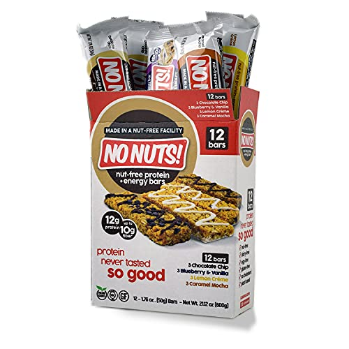No Nuts! Protein Bars Energy Bars - 100% Nut Free Dairy Free Vegan Protein Bars, Vegan Protein Bars Variety Pack of 12, Organic, Kosher, Egg-Free, Non-Gmo & Dairy Free Protein Bars