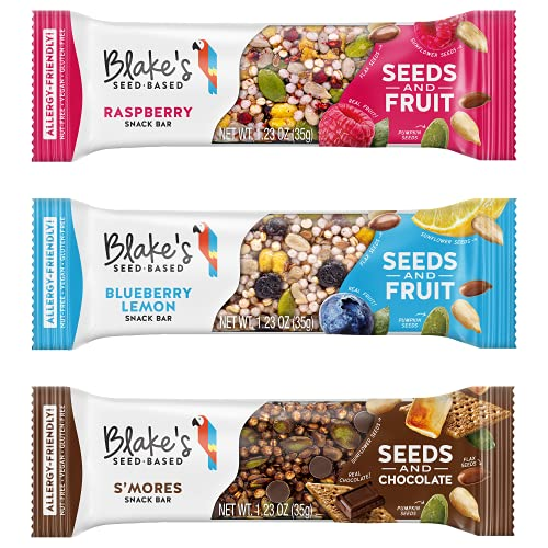 Blake's Seed Based Snack Bar – Variety Pack (9 Bars), Nut Free, Gluten Free, Dairy Free & Vegan, Healthy Snacks for Kids or Adults, Fruit & Chocolate Bar Flavors, Great for Breakfast, Organic