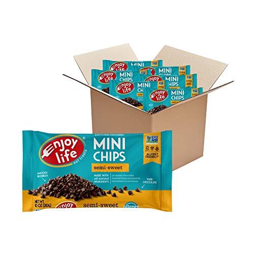 Enjoy Life Baking Chocolate, Soy free, Nut free, Gluten free, Dairy free, Non GMO, Vegan, Paleo, Semi Sweet Mini Chips, 10 Ounce (6 Pack)