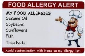 Custom Chef Card by SecureID for child's nut allergy