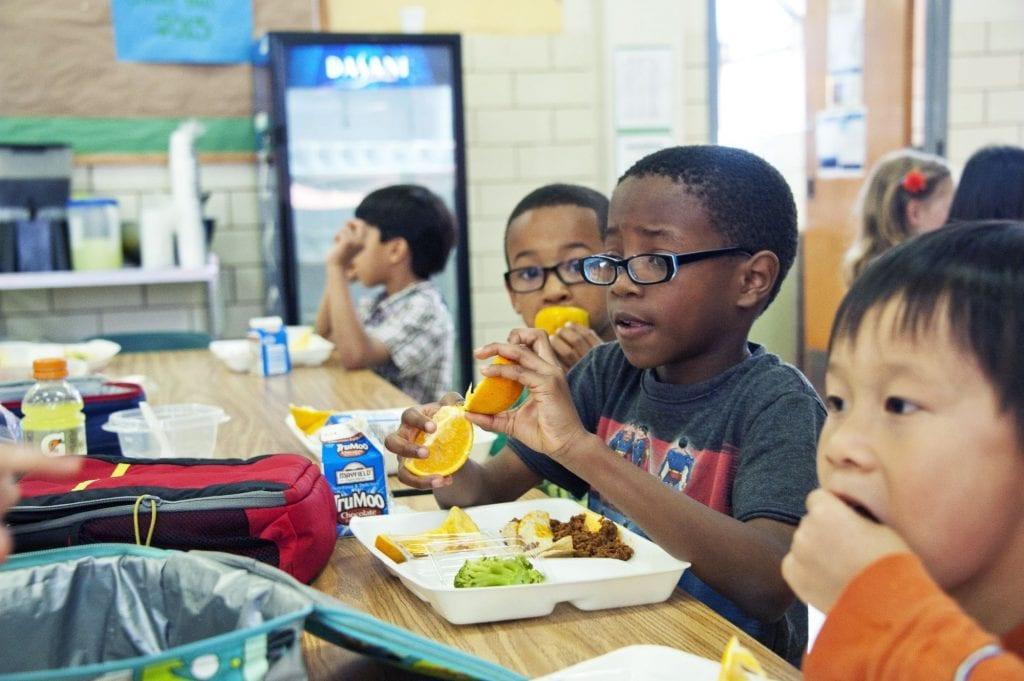 Kids eating school lunch - nut free school vs nut aware school
