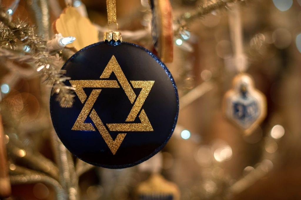 Jewish Star of David and dreidel decoration, nut free Hanukkah