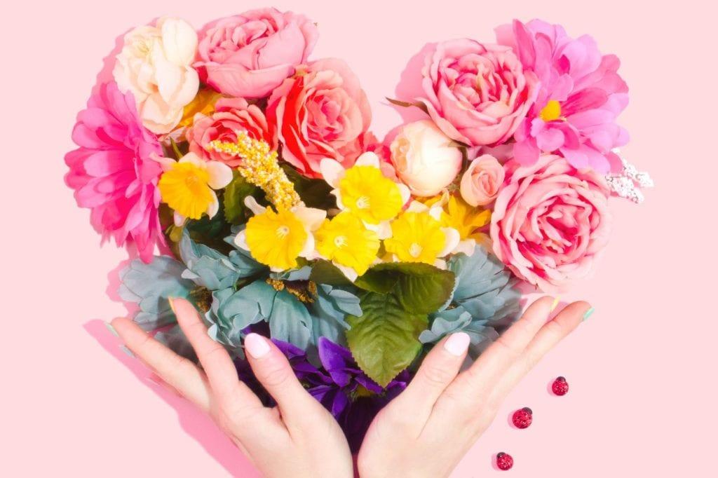 Heart hands flowers, nut-allergic valentine